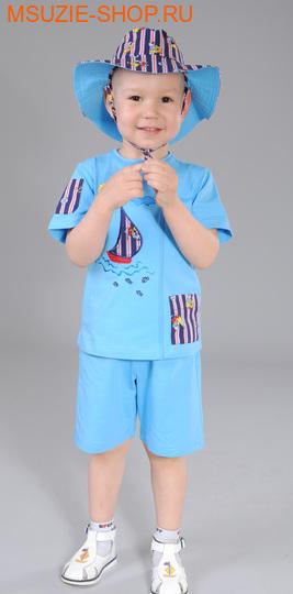 Милашка Сьюзи футболка+шорты+шляпа. 104 голубой ростКостюмы <br><br>