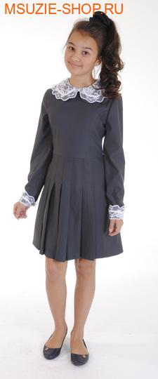 Милашка Сьюзи платье+воротник+манжеты. 122 тем.серый ростПлатья/фартуки <br><br>