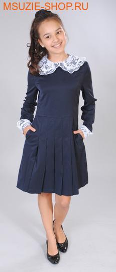 Милашка Сьюзи платье+воротник+манжеты. 122 тем.синий ростПлатья/фартуки <br><br>