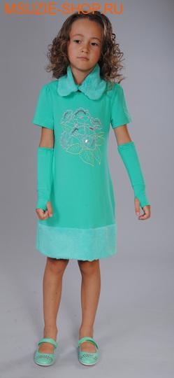 Флер де Ви платье+съемный воротник+митенки. 110 зеленый рост