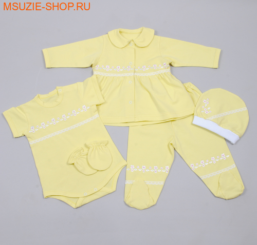Милашка Сьюзи набор 5 предметов. 68 желтый росткомплекты для выписки,крестильные наборы<br><br>