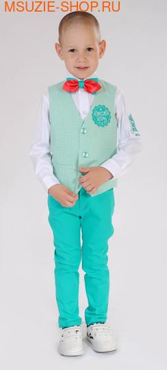 Милашка Сьюзи жилет+сорочка+брюки+бабочка. 104 зеленый рост