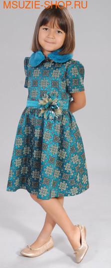 Флер де Ви платье+ съёмный воротник. 104 морская волна рост