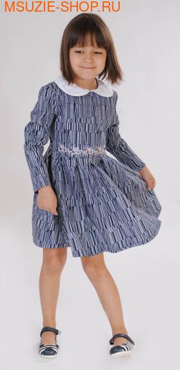 Милашка Сьюзи платье+ съемный воротник. 104 синий ростПлатья <br><br>