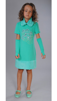 платье+съемный воротник+митенки
